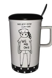 Кружка c крышкой и ложкой Great Coffee  Тинейджер 350 мл    (52259)