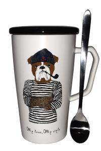 Кружка c крышкой и ложкой Great Coffee  Боцман 300 мл   (53262)