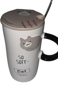 Кружка c крышкой и ложкой Great Coffee  Домашний кот 420 мл  (О8030-17)