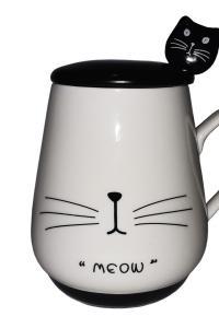 Кружка c крышкой и ложкой Great Coffee  Черная кошка 300 мл  (52255)