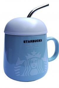 Кружка с крышкой и ложкой-трубочкой Great Coffee  Звездный бакс Гляссе 360 мл  (52996)