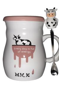 Кружка c крышкой и ложкой Great Coffee  Молоко-энергия 420 мл  (53387)