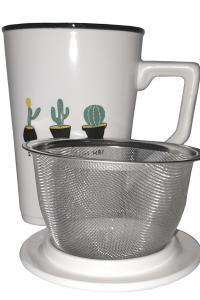 Чашка с металлическим ситом Great Coffee  Супер-кактус 350 мл  (53257)