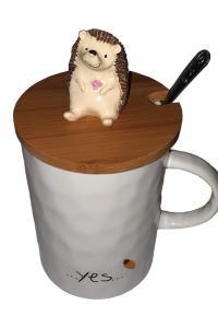 Кружка c крышкой и ложкой Great Coffee Ежик 375 мл  (52999)