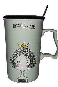 Кружка c крышкой и ложкой Great Coffee Счастливая девочка 375 мл  (52994)
