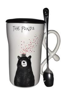 Кружка c крышкой и ложкой Great Coffee  Медведь 350 мл (52592)