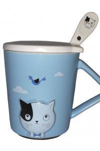 Кружка c крышкой и ложкой Great Coffee  Любимый котик 420 мл  (53444)