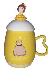 Кружка c крышкой и ложкой Great Coffee  Принцесса 360 мл  (52606)