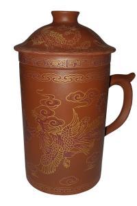 Кружка глиняная с ситом Great Coffee  Восток 400 мл коричневая  (53165)