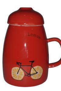 Кружка с крышкой и ложкой-трубочкой Great Coffee  Фрутти-байк 300 мл  (120221)
