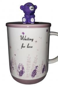 Кружка c крышкой и ложкой Great Coffee  Мишка-Прованс 400 мл  (52997)