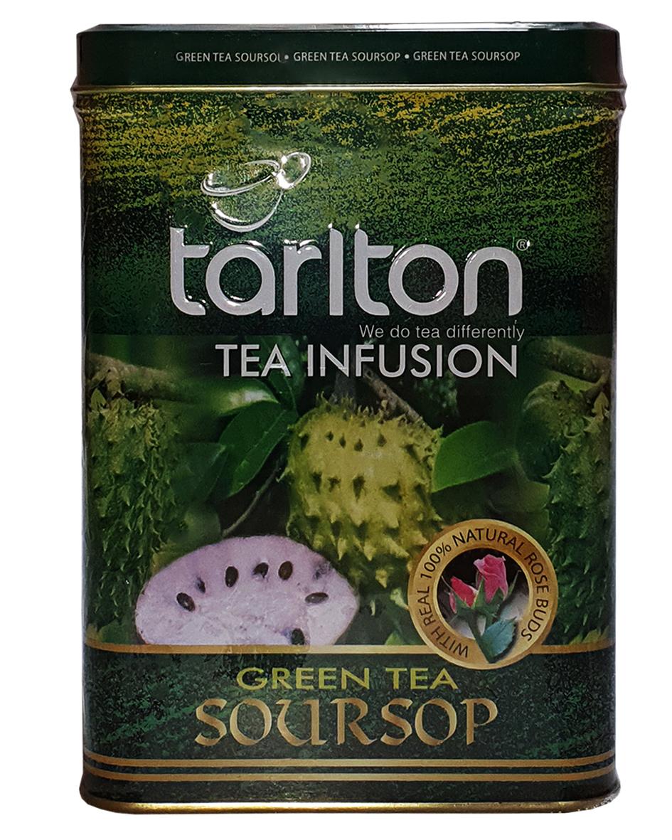 Чай зеленый с саусепом Tarlton Green tea Soursop 250 г в металлической банке | магазин Филижанка