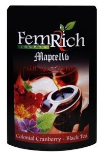 Чай черный с клюквой и лепестками цветов FemRich Клюква 200 г в металлической банке