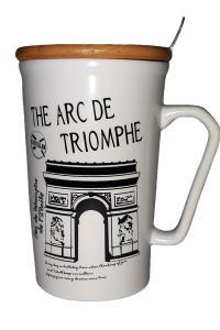 Кружка c крышкой и ложкой Great Coffee  Европа 425 мл  (1460)