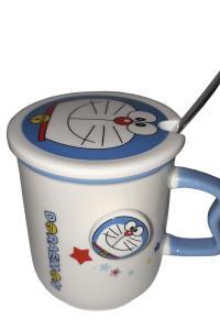 Кружка c крышкой и ложкой Great Coffee  Кот Дораемон 400 мл  (51968)