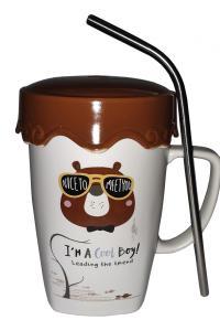 Кружка с крышкой и трубочкой Great Coffee  Крутяк 420 мл  (51969)