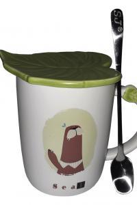 Кружка c крышкой и ложкой Great Coffee Зеленый листок 400 мл  (52995)