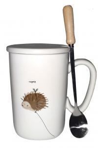 Кружка c крышкой и ложкой Great Coffee  Лавли 350 мл  (53001)