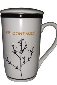 Чашка с металлическим ситом Great Coffee  Жизнь продолжается 350 мл  (O8030-62)