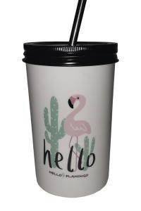 Стакан с крышкой и трубочкой Great Coffee  Фламинго 500 мл  (52593)