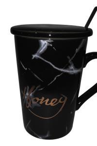 Кружка c крышкой и ложкой Great Coffee Мрамор 400 мл   (53540)