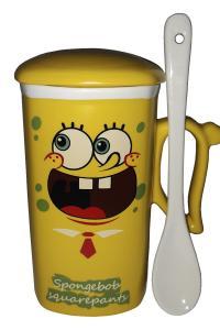 Кружка c крышкой и ложкой Great Coffee Губка Боб 300 мл  (51967)