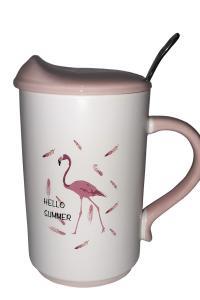 Кружка c крышкой и ложкой Great Coffee  Фламинго 375 мл  (52444)