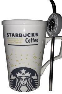 Кружка с крышкой и трубочкой Great Coffee  Звездный бакс Уайт-холл 350 мл  (52258)