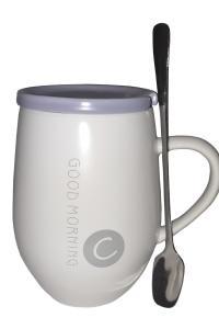 Кружка c крышкой и ложкой Great Coffee  Доброе утро 400 мл  (52589)