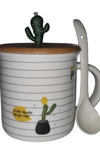 Кружка c крышкой и ложкой Great Coffee  Кактус 375 мл  (53258)