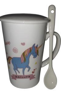 Кружка c крышкой и ложкой Great Coffee  Единорог 300 мл   (53313)