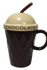 Кружка с крышкой и трубочкой Great Coffee  Айс-крим 380 мл  (53195)