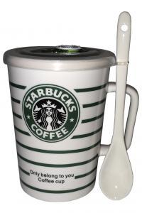Кружка с вакуумной крышкой и ложкой Great Coffee  Звездный бакс 400 мл  (N7501-32)