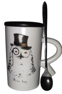Кружка c крышкой и ложкой Great Coffee  Английская сказка 300 мл (53443)