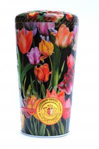 Чай черно-зеленый с лепестками цветов Chelton Ваза с тюльпанами 100 г в металлической банке