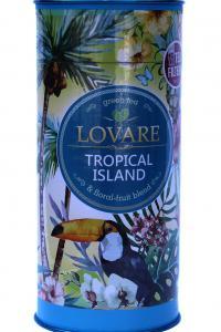LOVARE. Тропический остров. Зеленый чай с ароматом тропических фруктов, 80 г, картонная туба