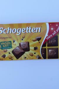 Schogetten Knusperini, молочный шоколад с попкорном, 100 г