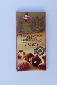 SPARTAK. Молочный шоколад с миндалем, 90 г