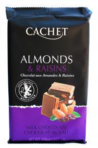 Cachet Almonds & Raisins, молочный шоколад с миндалем и изюмом, 300г
