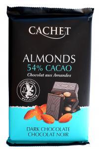 Cachet Almonds 54% cacao, черный шоколад с миндалем, 300г