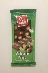 Шоколад Fin Carre Whole Nut Молочный с фундуком 100 г (54336)