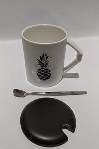 Кружка c крышкой и ложкой Great Coffee Мрамор 400 мл  (О8030-81)